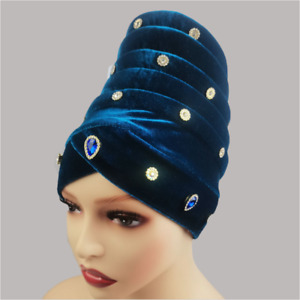 Fashion Velvet Beaded Wrapped Turban Party Cap African Women Vintage Top Hat