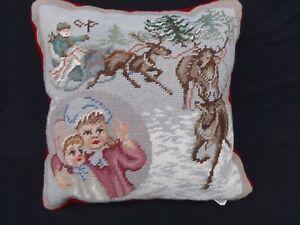 """CHRISTMAS WOOL NEEDLEPOINT Pillow RED VELVET BACK 14x14"""" Santa Sleigh Boy& Girl"""