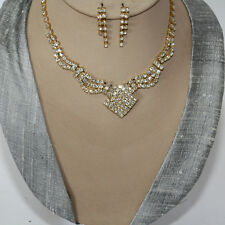 Jewellery Set Necklace Earrings Cristal Strass Bride Chain Party Gold 93
