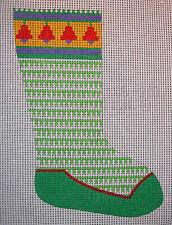Vintage Hand Painted HP Needlepoint Canvas ~ Big Stitch Christmas Stocking