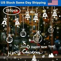 285PC DIY Christmas Static Cling Window Stickers Snowflake Santa Bell Xmas Decor