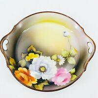 Vintage Noritake Morimura Bros Handled Dish Hand Painted Green Mark Floral Art