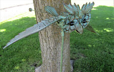 Whimsical Wing Flapping Kinetic Metal Owl Yard Stake Art Wind Spinner WhirlyGig