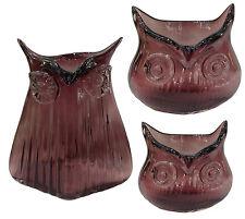 3 er Set Dekovase Eule lila Glasvase Vintage Vase Glas Retro Tischvasche