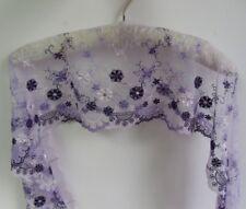 "7.5"" Vintage Purple Embroidered Floral Net Lace Trim-2 yards (T080)"