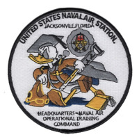 """4.5"""" NAVY NAVAL AIR STATION JACKSONVILLE FLORIDA DONALD DUCK EMBROIDERED PATCH"""