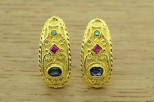 Byzantine Etruscan Earrings EMERALD SAPPHIRES 925 STERLING SILVER GREEK EARRING