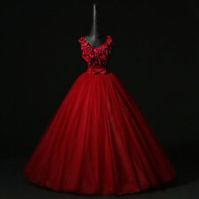 2017 Red Flower Wedding dress Quinceanera Pageant Ball Gown Formal Prom dresses