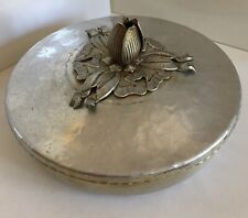 Vtg Tulip Bowl Covered Dish Hand Wrought Hammered Aluminum #401 Rodney Kent