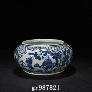 "11"" China Porcelain Ming dynasty jiajing Blue white Eight Immortals Brush Washer"