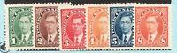 #231 / 236 set - Canada - 1937 - 1 to 8 Cent - MNH  - F/VF - superfleas