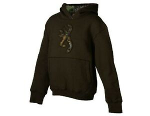 BROWNING Boys Youth BUCKMARK HOODIE Sweatshirt Pullover GREEN BROWN or BLACK New