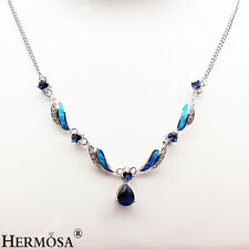 """Xmas Gift Vintage Australia Fire Opal,Tanzanite Sterling Silver Hot Necklace 21"""""""