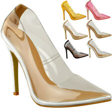 Womens Ladies Nude Clear Perspex High Heel Court Shoes Party See Through