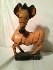 "Primitive Hand Carved Wood Zebra Art Burned 11""tall x7""long"