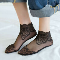 Hot Women Lace Socks Silk Short Thin Transparent Roses Flower Ankle Cotton Socks