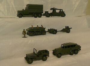 DINKY TOYS BY MECCANO, JOB LOT OF 7 PRE-WAR MECHANISED ARMY VEHICLES + FIGURES