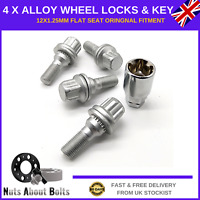 Locking Wheel Bolts 4 + Key M12X1.25 Nuts For Peugeot With Genuine Alloys