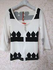 Cop Copine Women's Knitting Blouse Shirt Top T-shirt White  Black Size 36 US 4