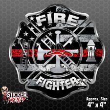 """Firefighter """"Thin RED Line CROSS"""" Sticker -Vinyl Decal Flag Maltese Fire #FS2024"""