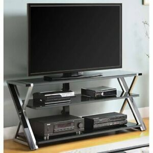 """Whalen Furniture Black TV Stand for 65"""" Flat Panel TVs with Tempered Glass Shelv"""