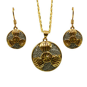 Gold Plated Stainless Steel Fashion Pendant  with Stud Earring for Girls &women
