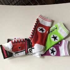 3 PAIRS LADIES SNEAKER NOVELTY SOCKS*LIKE AN OLD FASHIONED SNEAKER*RED/LIME/PURP