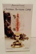 American Crystal Collection Christmas Hurricane Lamp 24% Lead Crystal Vintage