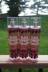 Bath Body Works 3 Black Raspberry Vanilla Fine Fragrance Mist Body Spray 8oz