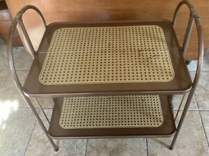 Vintage Metal Kitchen Cart, Versa-Table, Folding Shelves, Bronze/Gold