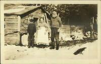 "Homestead Cabin Family ""Alaska"" Written on Back c1910 Real Photo Postcard"