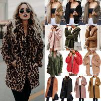 Women Winter Warm Fleece Fur Teddy Bear Coat Fashion Zip Outwear Jacket Jumper