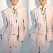 Pink Women Double Breasted Vested Business Pant Suit Party Prom Work Office Suit
