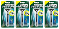 Gillette Vector Razor Handle + 1 Cartridge (Holds ALL Atra Blades) (4 Pack)