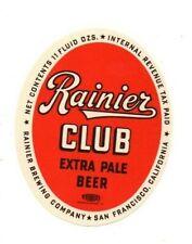 USA - IRTP Beer Label - Rainier Brewing Co, San Francisco - Rainier Club