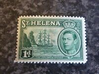 ST HELENA POSTAGE STAMP SG132 1D GREEN 1938-44 LIGHTLY MOUNTED MINT
