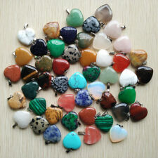 Fashion Assorted natural stone heart Silver P Bead Pendants 100pcs/lot Wholesale