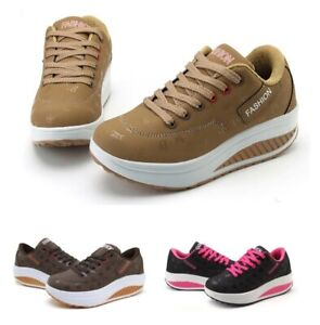 Women Solid Wedge Waterproof Shoes Casual Fashion Running Lace Up Rubber Shoes