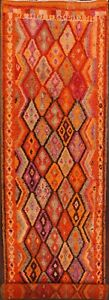 Vintage Geometric South-western 13ft Moroccan Long Runner Rug Vibrant Color 3x13