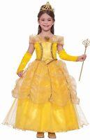 Princess Belle Designer Costume Girls Child Disney Gold - S 4-6, M 8-10, L 12-14
