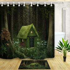 "Elf hut in forest Waterproof Fabric Bathroom ShowerCurtain& 12 Hooks 71*71"""