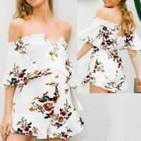 Women Pregnancy Maternity Summer Chiffon Off Shoulder Strap Dress Floral Pants