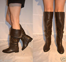 Women Brown Over Knee Boots Flat Real Leather Half Zipped Wide Calf Fit Size 5