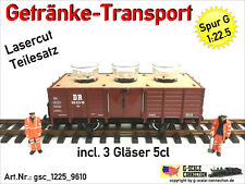 Spur G Getränke Transport Einsatz + 3x 5cl Gläser - Lasercut 1:22,5 f. LGB 4020