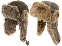 Mens Winter Trapper Hat Fur Trim Check Aviator Russian Ushanka Cossack Ski Cap