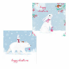 Pack of 10 Christmas Cards with Glitter Detail - 8842 Polar Bear / Rabbit