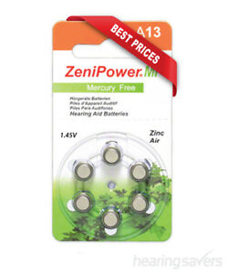 NEW ZeniPower Hearing Aid Batteries size 13 (A13) from Hearing Savers