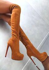 Women High Heel Stiletto Platform Over Knee High Thigh Boots Faux Suede Evening