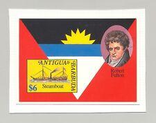 Antigua 1993 Robert Fulton, Steamboat, 1v. s/s imperf chromalin proof