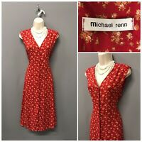 Michael Renn Red Floral Retro Sleeveless Dress UK 14 EUR 42 US 10